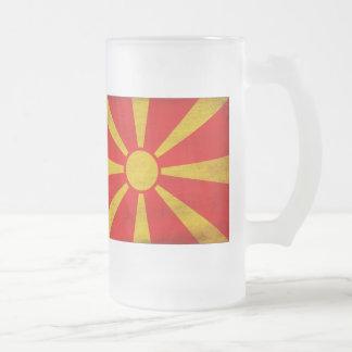 Bandera de Macedonia Taza Cristal Mate