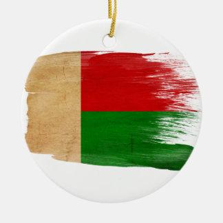 Bandera de Madagascar Adorno Navideño Redondo De Cerámica