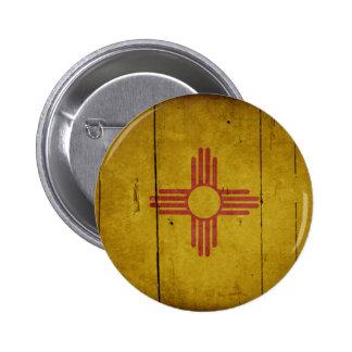Bandera de madera rugosa de New México Pins