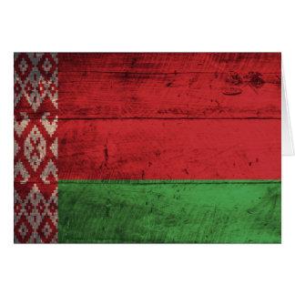 Bandera de madera vieja de Bielorrusia Tarjeta Pequeña
