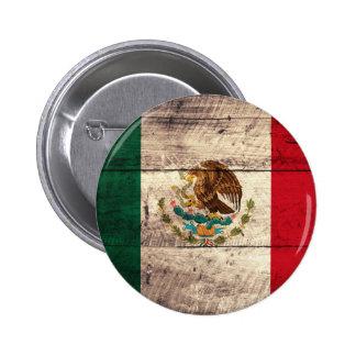 Bandera de madera vieja de México Chapa Redonda De 5 Cm