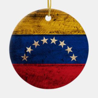 Bandera de madera vieja de Venezuela Ornamento Para Arbol De Navidad