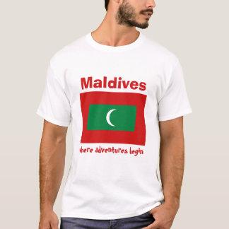 Bandera de Maldivas + Mapa + Camiseta del texto