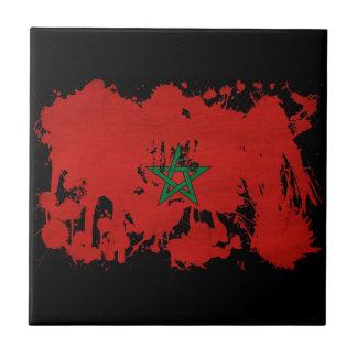 Bandera de Marruecos Azulejo Cuadrado Pequeño