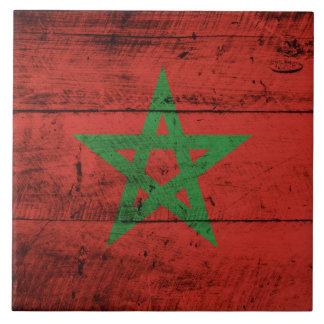 Bandera de Marruecos en grano de madera viejo Azulejo Cuadrado Grande