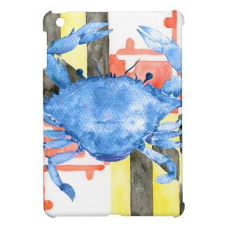 Bandera de Maryland de la acuarela y cangrejo azul