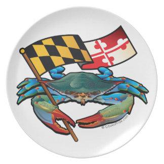 Bandera de Maryland del cangrejo azul Plato
