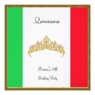 Bandera de México de la invitación de Quinceanera