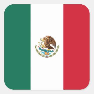 Bandera de México Pegatina Cuadrada