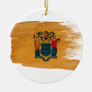 Bandera de New Jersey Adorno Navideño Redondo De Cerámica