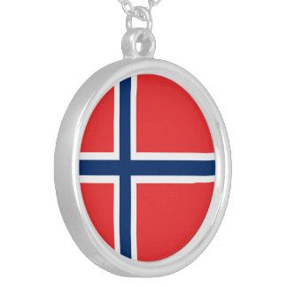 Bandera de Noruega Collar Plateado
