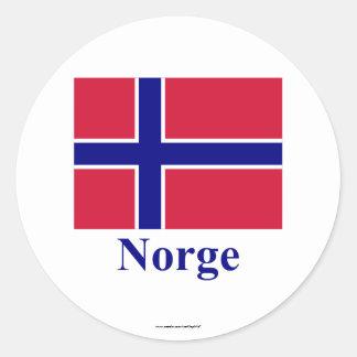 Bandera de Noruega con nombre en noruego Pegatinas Redondas