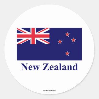 Bandera de Nueva Zelanda con nombre Pegatina Redonda