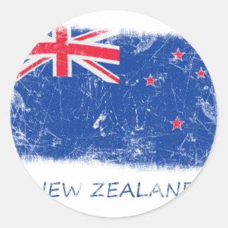 Bandera de Nueva Zelanda del Grunge Pegatinas Redondas