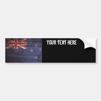 Bandera de Nueva Zelanda en grano de madera viejo Pegatina Para Coche