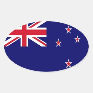 Bandera de Nueva Zelanda Pegatina De Oval Personalizadas