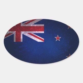 Bandera de Nueva Zelanda Pegatina Ovalada