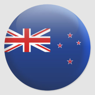 Bandera de Nueva Zelanda Etiqueta Redonda