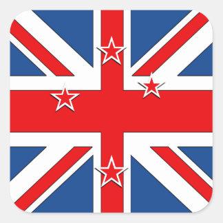 Bandera de Nueva Zelanda Pegatina Cuadrada