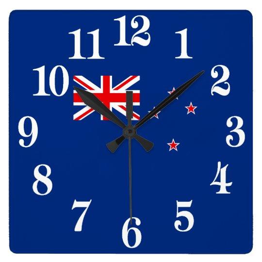Bandera de Nueva Zelanda Reloj Cuadrado