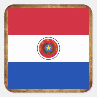 Bandera de oro de Paraguay Pegatina Cuadrada