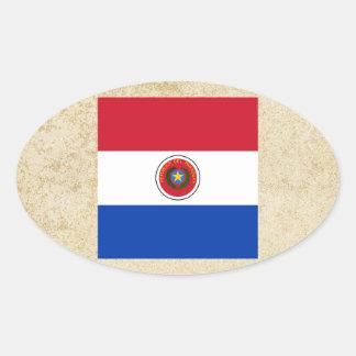 Bandera de oro de Paraguay Pegatina Ovalada