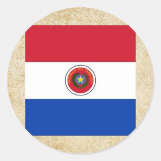 Bandera de oro de Paraguay Pegatina Redonda