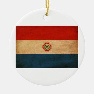 Bandera de Paraguay Adorno Navideño Redondo De Cerámica