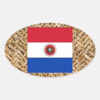 Bandera de Paraguay en la materia textil temática Pegatina Ovalada