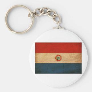 Bandera de Paraguay Llavero Redondo Tipo Chapa