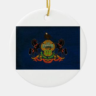 Bandera de Pennsylvania Adorno Navideño Redondo De Cerámica