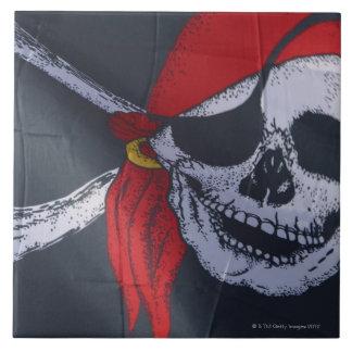 Bandera de pirata azulejo cuadrado grande