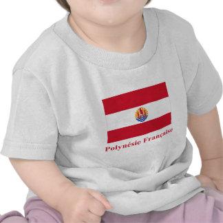 Bandera de Polinesia francesa con nombre en Camisetas