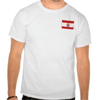 Bandera de Polinesia francesa y camiseta del mapa