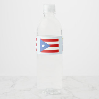 Bandera de Puerto Rico en azul claro Etiqueta Para Botella De Agua