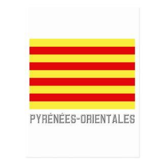 Bandera de Pyrénées-Orientales con nombre Postales