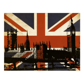Bandera de Reino Unido con la silueta del Postal