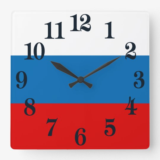 Bandera de Rusia Reloj Cuadrado