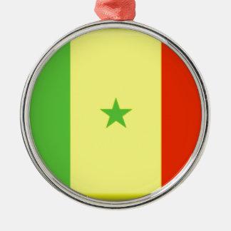 Bandera de Senegal Adorno Redondo Plateado