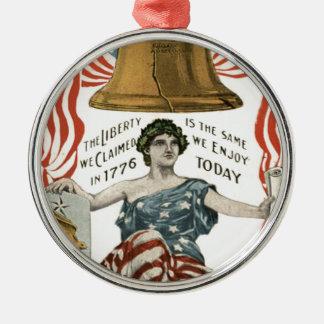 Bandera de señora Liberty Bell los E.E.U.U. el 4 Adorno Redondo Plateado