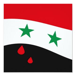 Bandera de Siria que agita con los rasgones rojos Invitación 13,3 Cm X 13,3cm