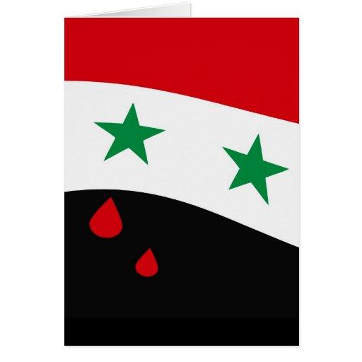 Bandera de Siria que agita con los rasgones rojos  Felicitaciones