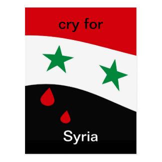 Bandera de Siria que agita con los rasgones rojos  Postal