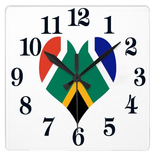 Bandera de Suráfrica Bokke Reloj Cuadrado
