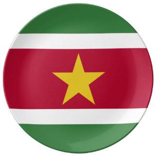 Bandera de Suriname Plato De Porcelana