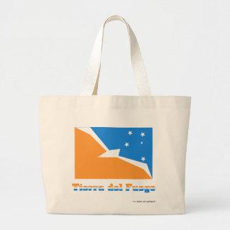 Bandera de Tierra del Fuego con nombre Bolsa Tela Grande