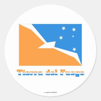 Bandera de Tierra del Fuego con nombre Pegatina Redonda