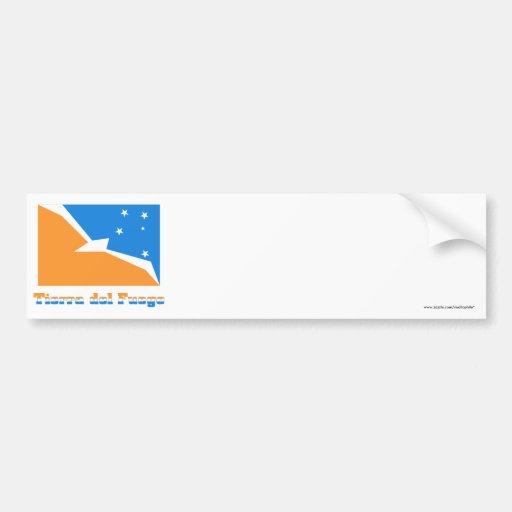 Bandera de Tierra del Fuego con nombre Etiqueta De Parachoque