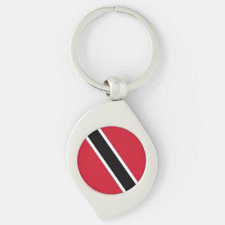 Bandera de Trinidad and Tobago Llavero Plateado En Forma De Espiral