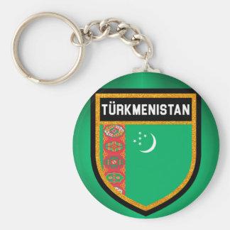 Bandera de Turkmenistán Llavero Redondo Tipo Chapa